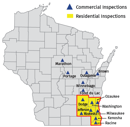 Map where Shamrock Inspectors service: Milwaukee, Waukesha, Dodge, Jefferson, Racine, Kenosha, Washington & Ozaukee WI Counties